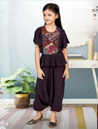 Purple dhoti style suit for girls in cotton silk