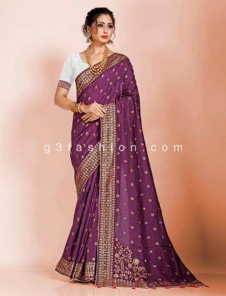Purple dola silk festive wear saree