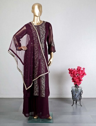 Purple georgette palazzo suit for wedding