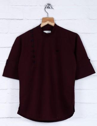 Purple hue solid cotton kurta