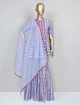Purple printed sharara suit design in cotton