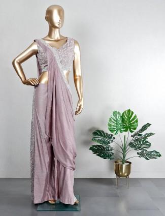 Purple raw silk wedding wear palazzo suit