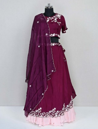 Purple silk lehenga choli for wedding