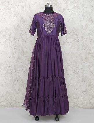 Purple wine georgette long salwar suit