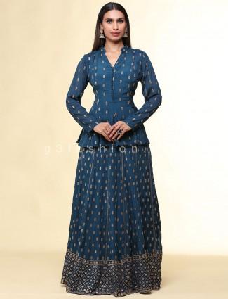 Rama green chiffon lehenga style salwar suit