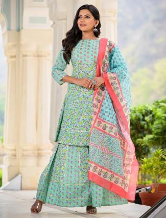 Rama green cotton festive occasions sharara suit