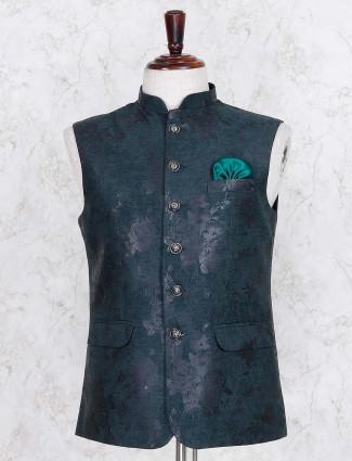 Rama green hue terry rayon waistcoat