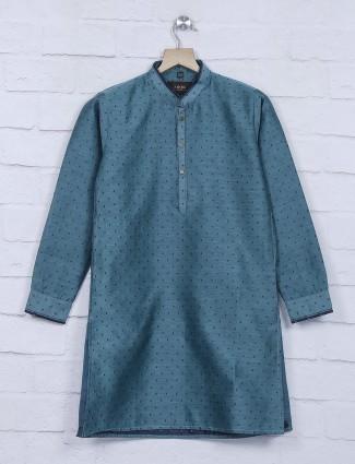 Rama green printed cotton kurta suit