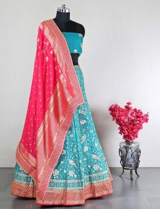 Rama green raw silk unstitched wedding wear lehenga choli