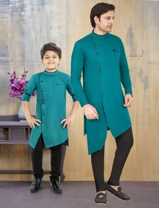 Rama green solid cotton silk father son kurta suit