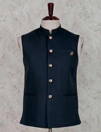 Rama green solid terry rayon waistcoat