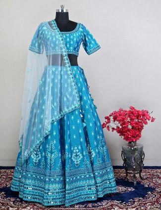 Rama green wedding wear lehnega with thread details