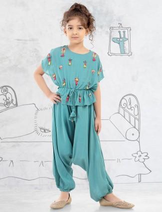 Rama greencotton silk girls dhoti suit