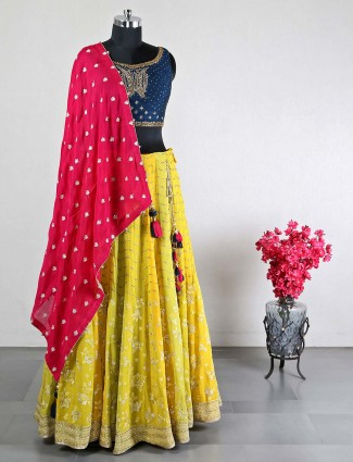 Raw silk and georgette yellow wedding wear lehenga choli