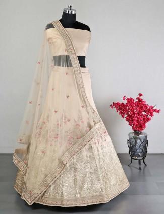 Raw silk beige lehenga choli for wedding