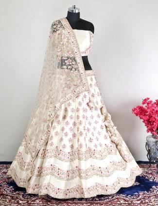 Raw silk cream unstitched wedding lehenga choli