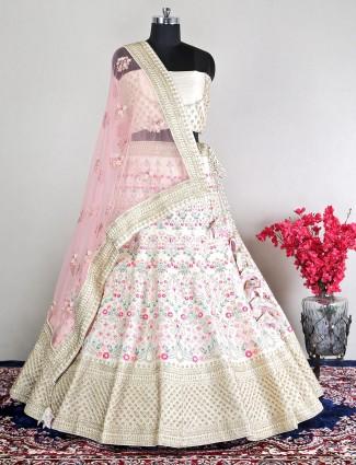 Raw silk cream unstitched lehenga choli for wedding