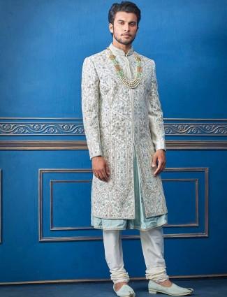 Raw silk grey sherwani for wedding days