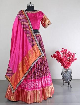 Raw silk magenta wedding special lehenga choli