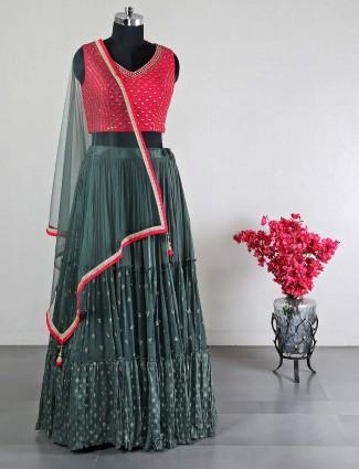 Raw silk magenta wedding wear lehenga choli