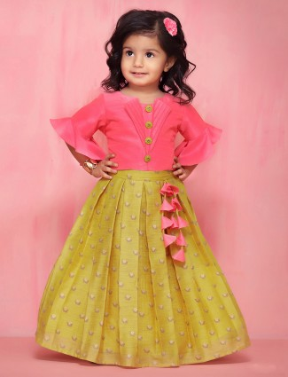 Raw silk party wear pink lehenga choli