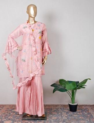 Raw silk pink sharara suit for wedding