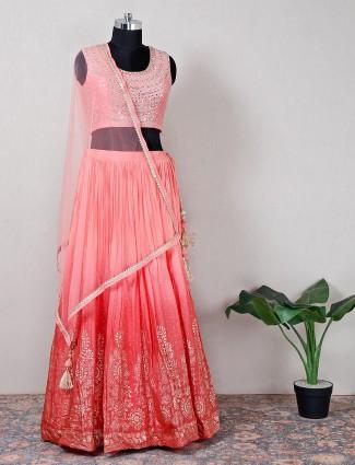 Raw silk pink wedding lehenga choli