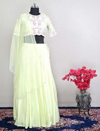 Raw silk reception wear lehenga in lemon yellow hue