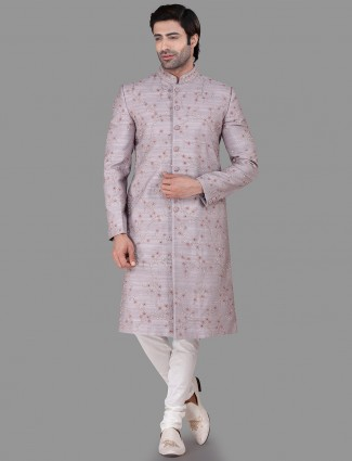 Raw silk voilet indo western wedding wear