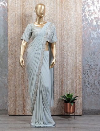 Ready to wear saree with readymade blouse in powder blue shade