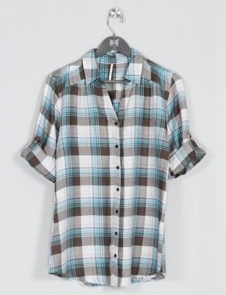 Recap aqua cotton chex shirt for women