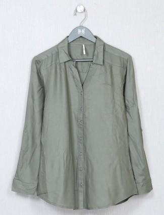 Recap grey shirt style casual top for women
