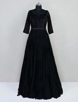 Reception wear black georgette gown