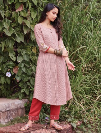Red aline kurta set with pants in cotton
