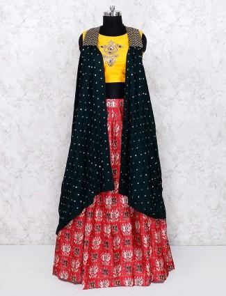 Red and yellow festive cotton silk lehenga choli