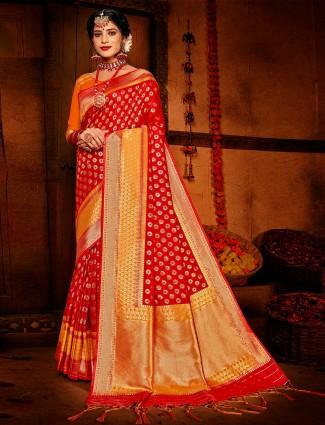 Red banarasi silk for wedding session