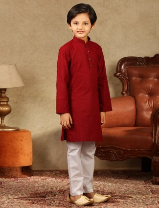 Red boys kurta suit in cotton