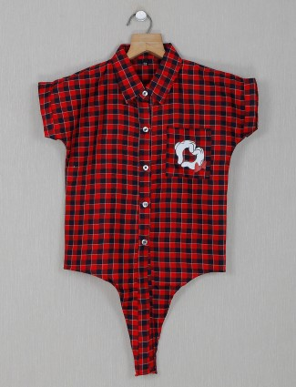 Red checks cotton top for giels