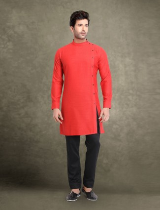Red classic side slit solid cotton kurta suit
