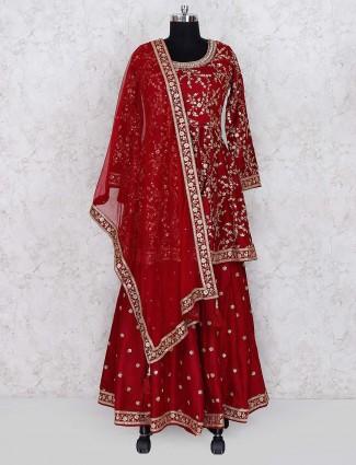 Red color cotton silk lehenga cum suit