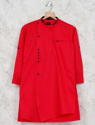 Red color festive wear kurta suit