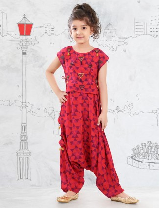 Red cotton dhoti suit for girls