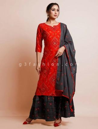 Red cotton festive wear suit for women