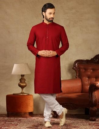 Red cotton kurta suit festive wear