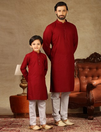 Red cotton kurta suit festive wear for father and son