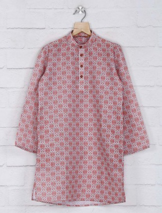 Red cotton kurta suit for boys