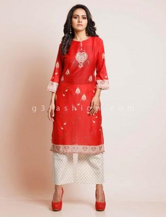 Red cotton kurti set for festive