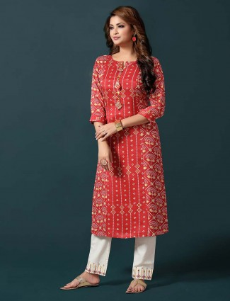 Red cotton pant suit for casual session