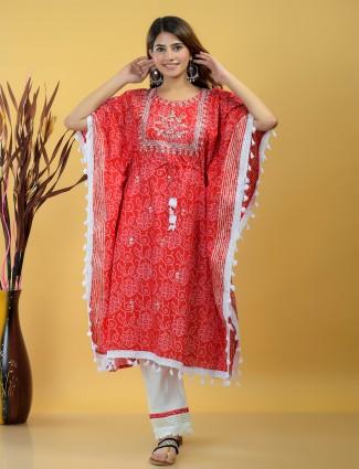 Red cotton printed festive wear punjabi style pant suit