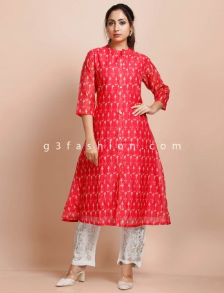 Red cotton round neck printed pant suit